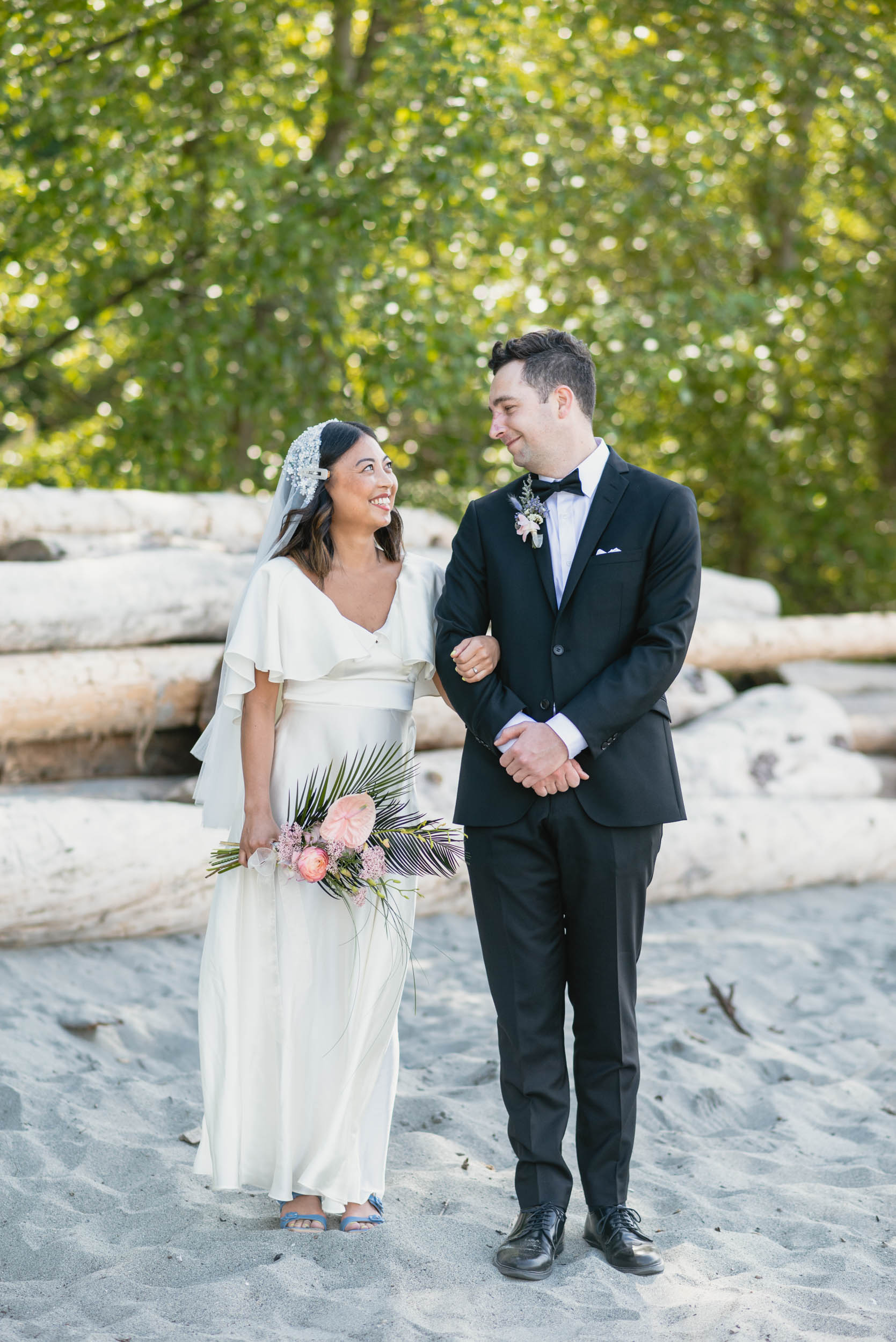 Bride and Groom together at beach