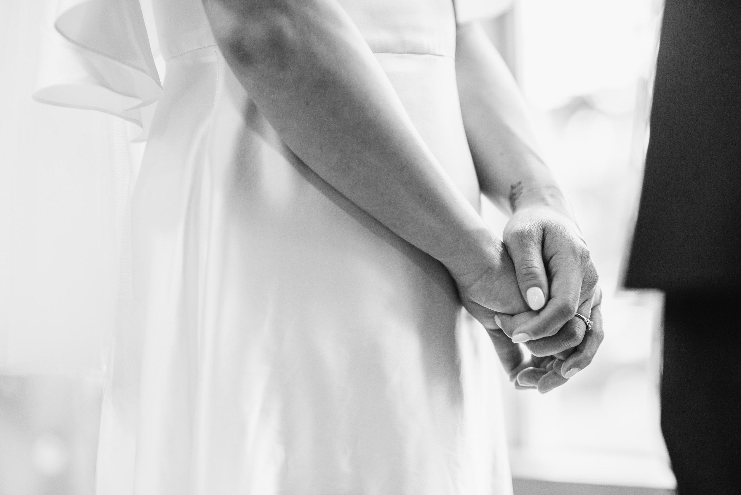 Brides hands during ceremony