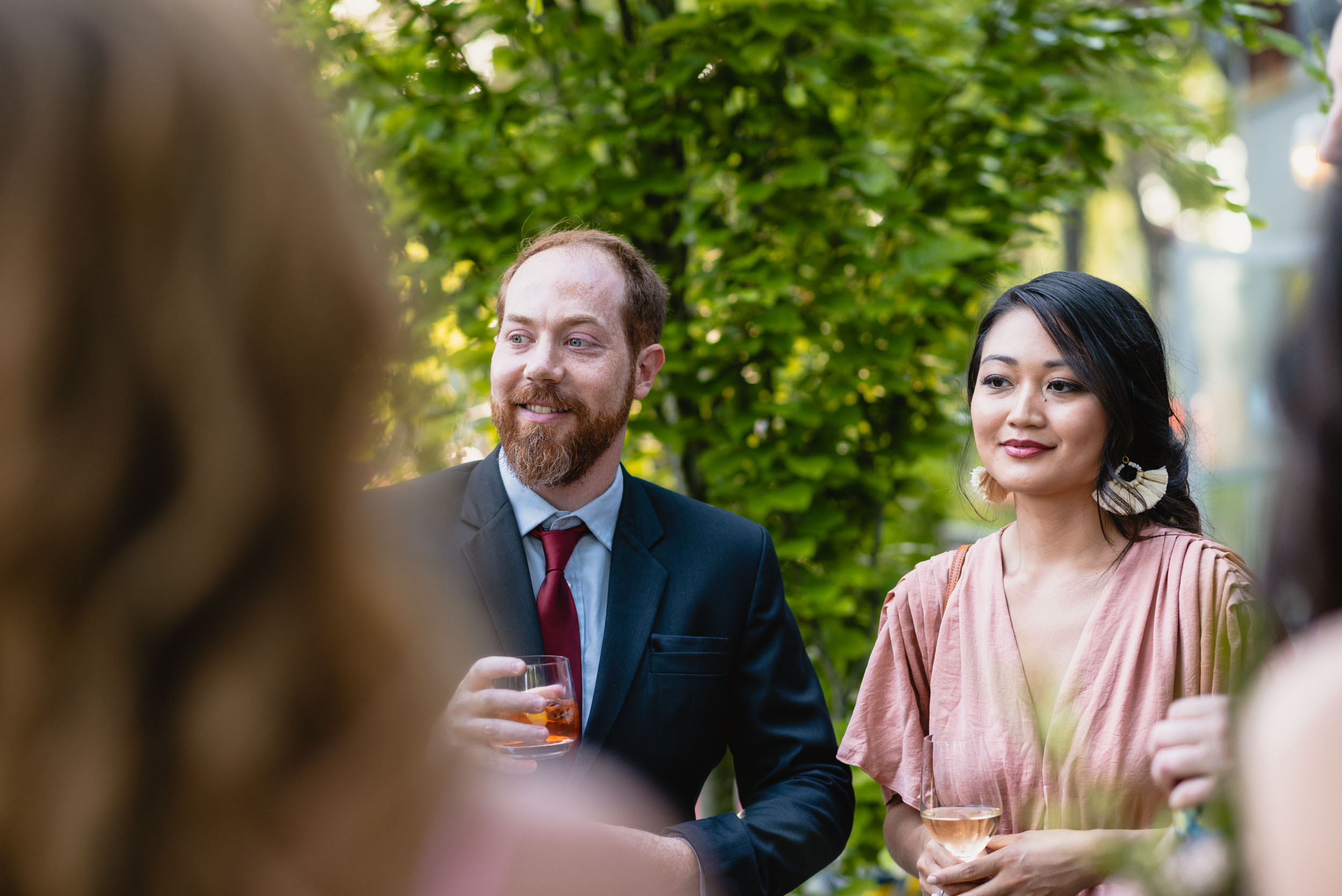Wedding guests during reception