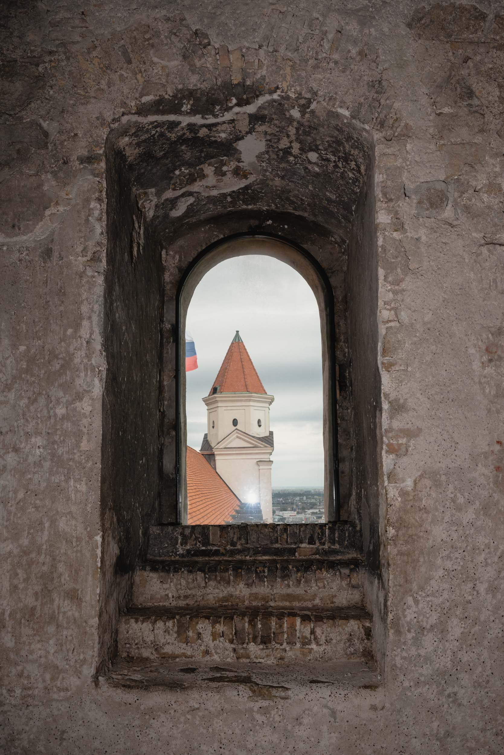 Bratislava castle through window