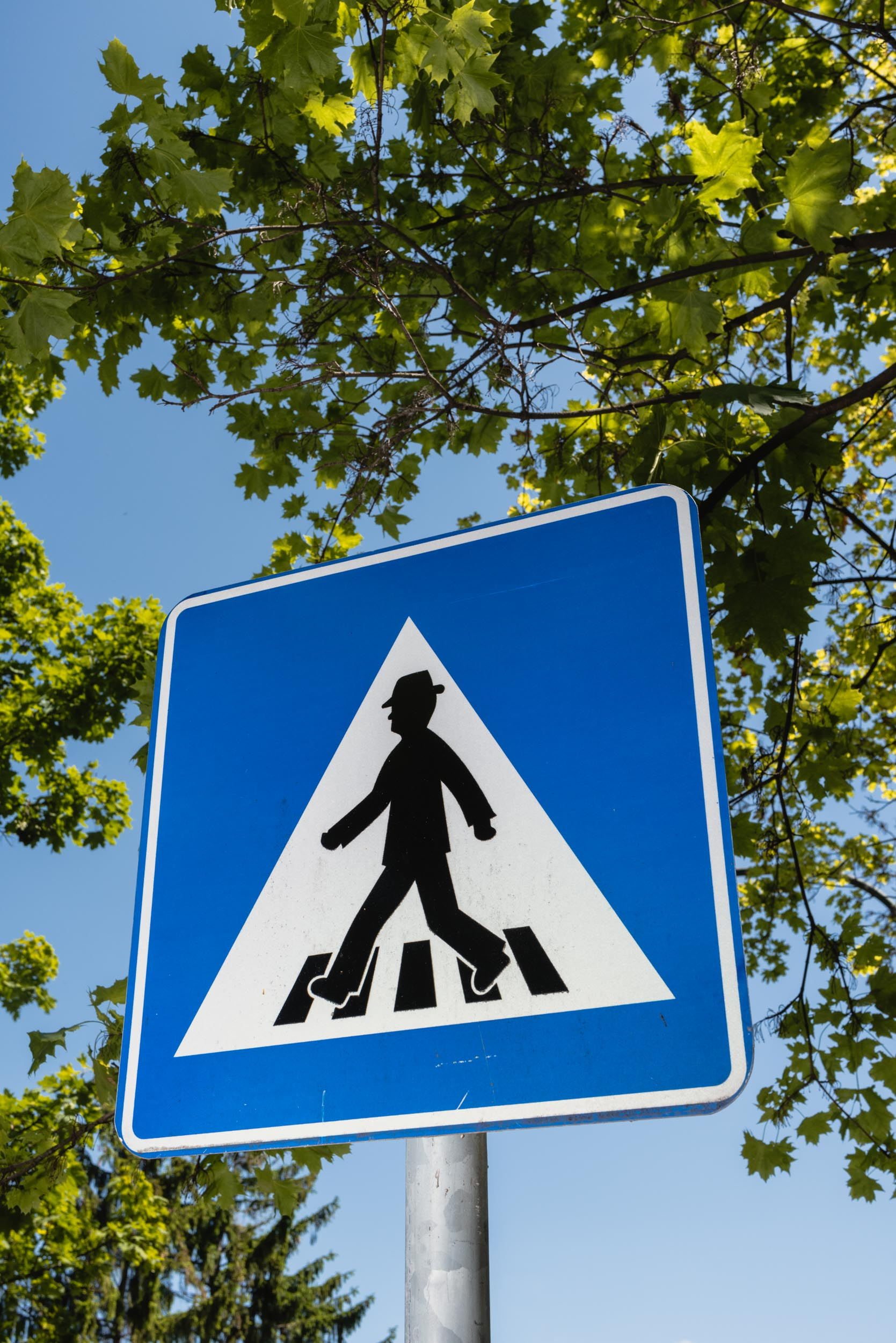 Blue man crosswalk sign Bratislava