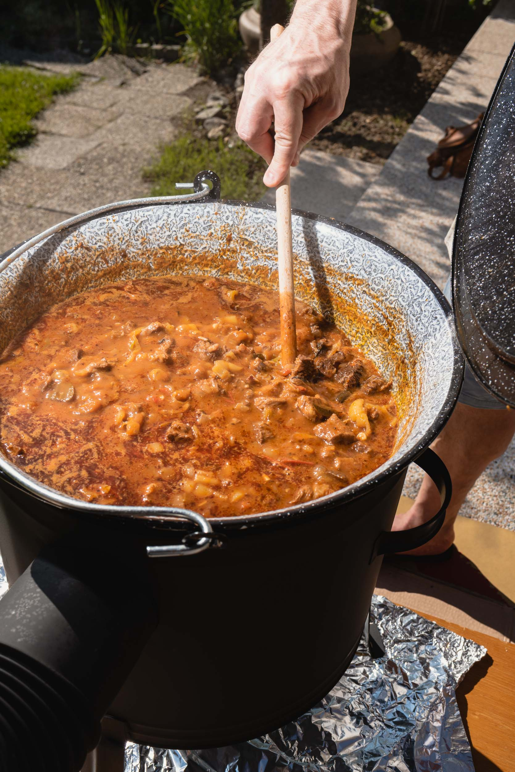Slovak food goulash cooking outside