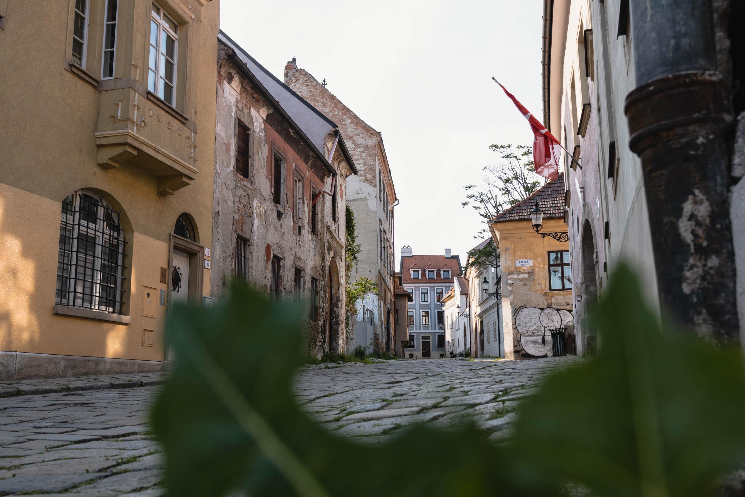 Bratislava cobblestone street Old Town