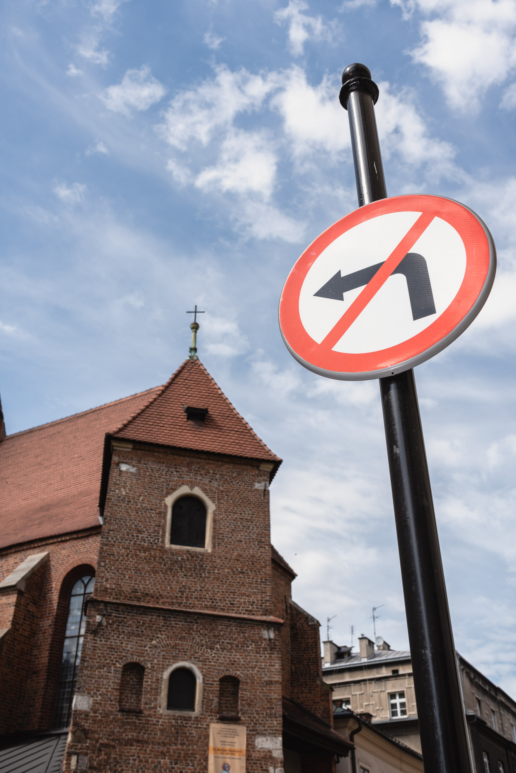 No left turn sign Krakow Old Town