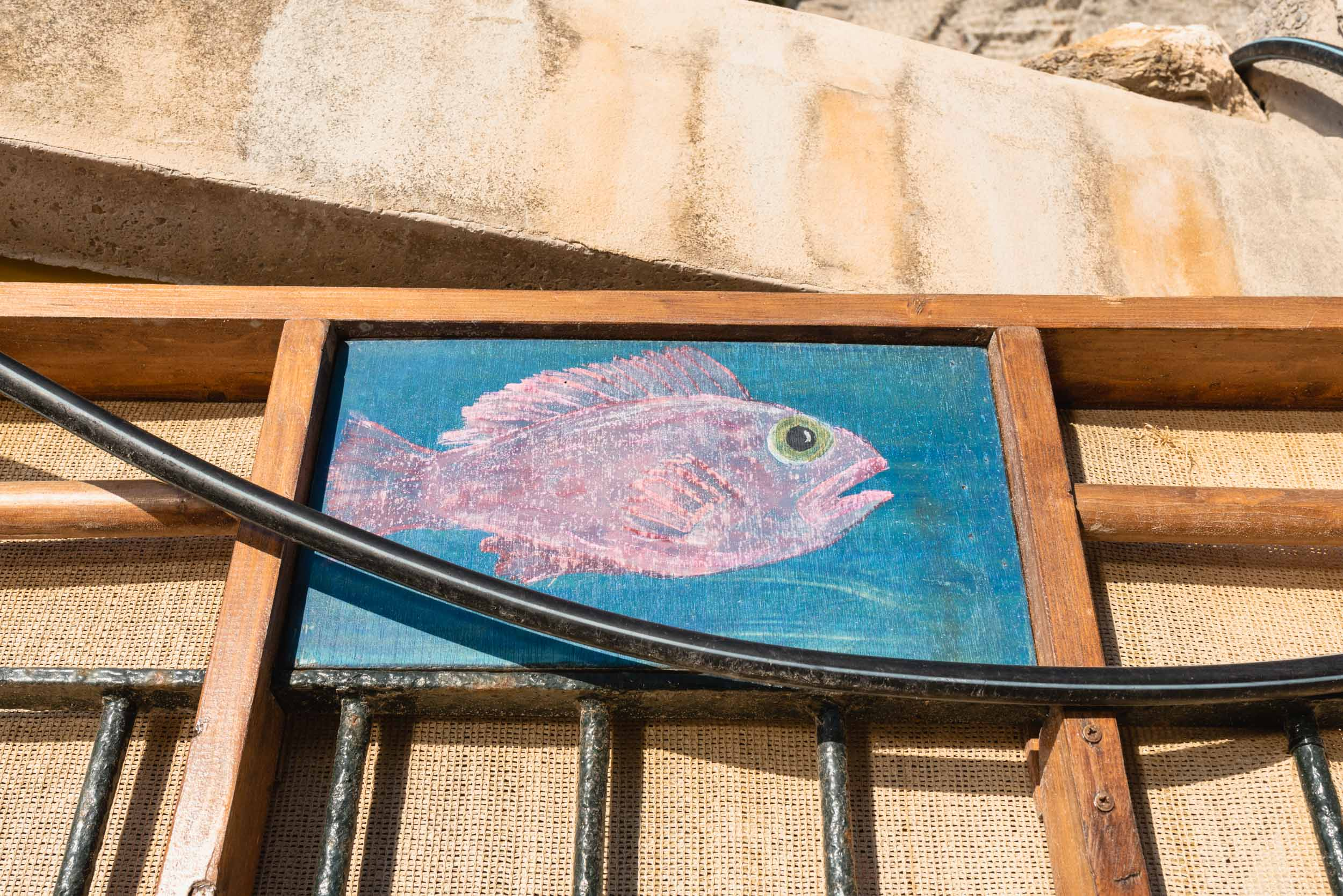 Fish painting on wall in Banyalbufar, Spain
