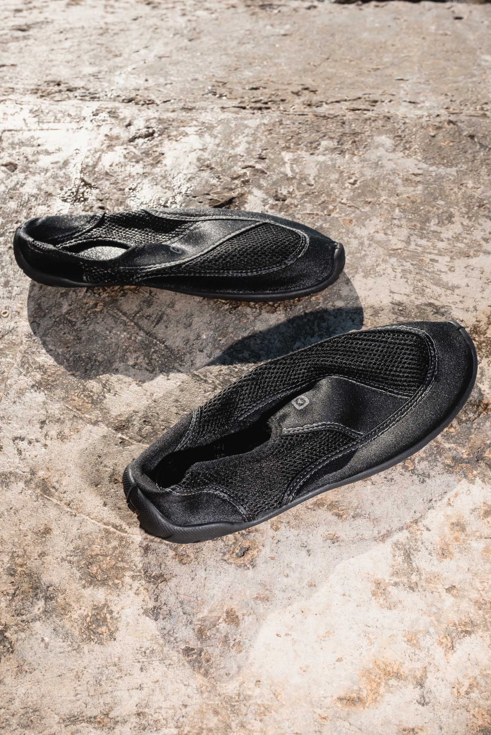 Wet water shoes on cement