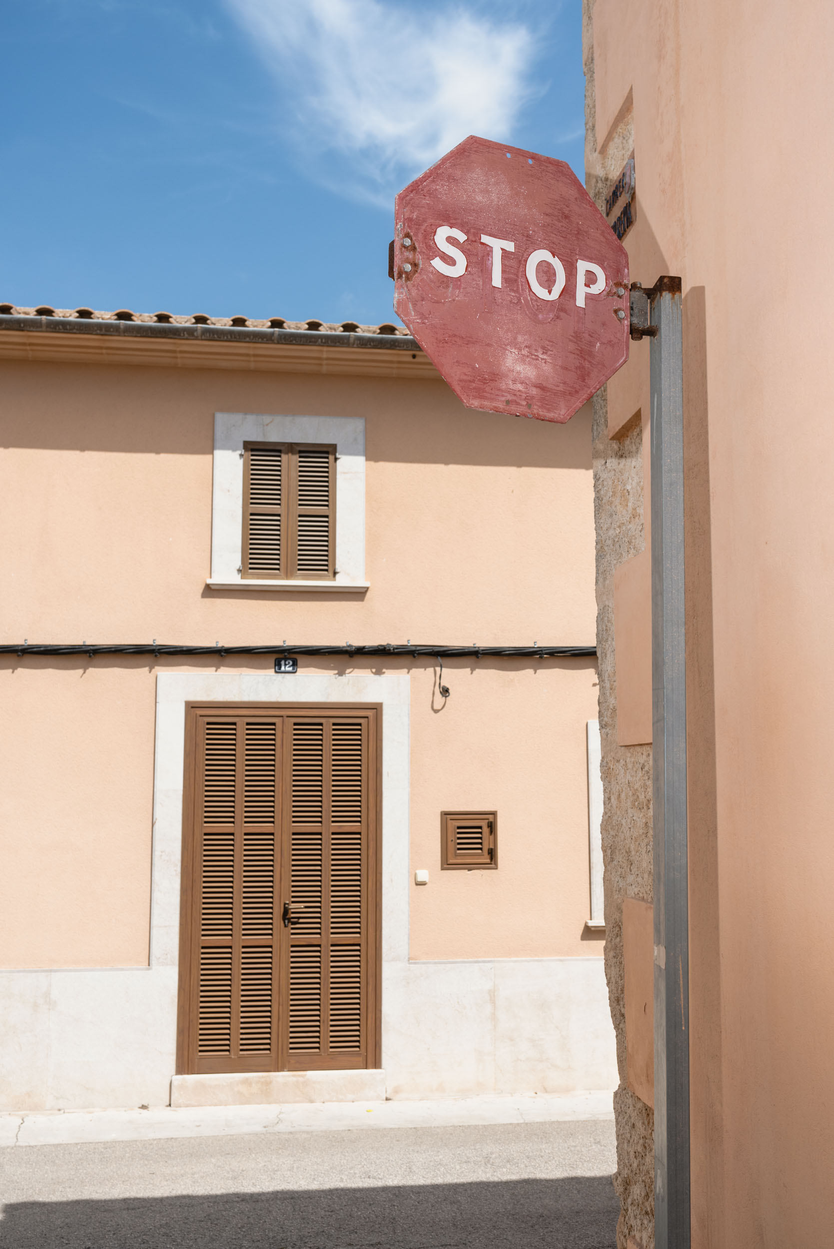 Stop sign in Sineu, Spain