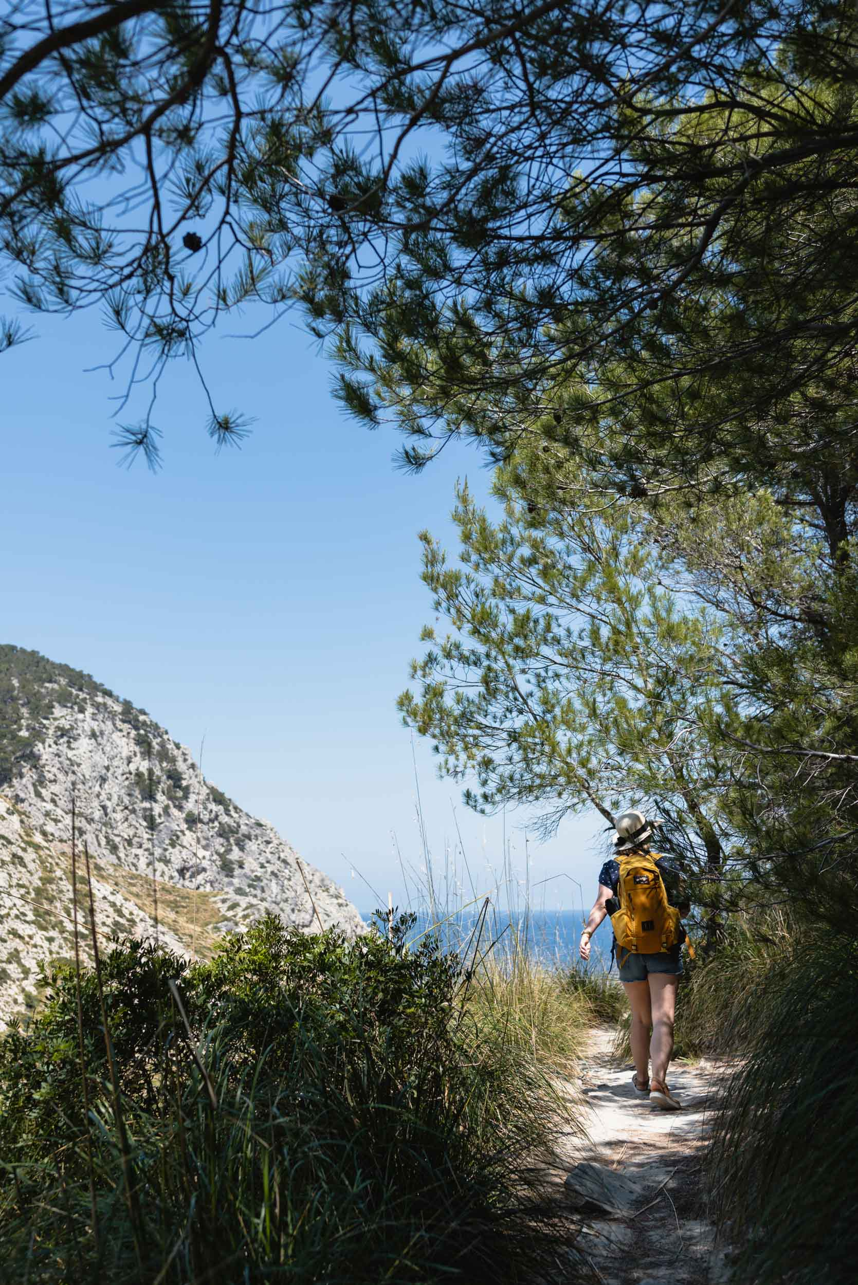 Walking down trail to Cala Figuera