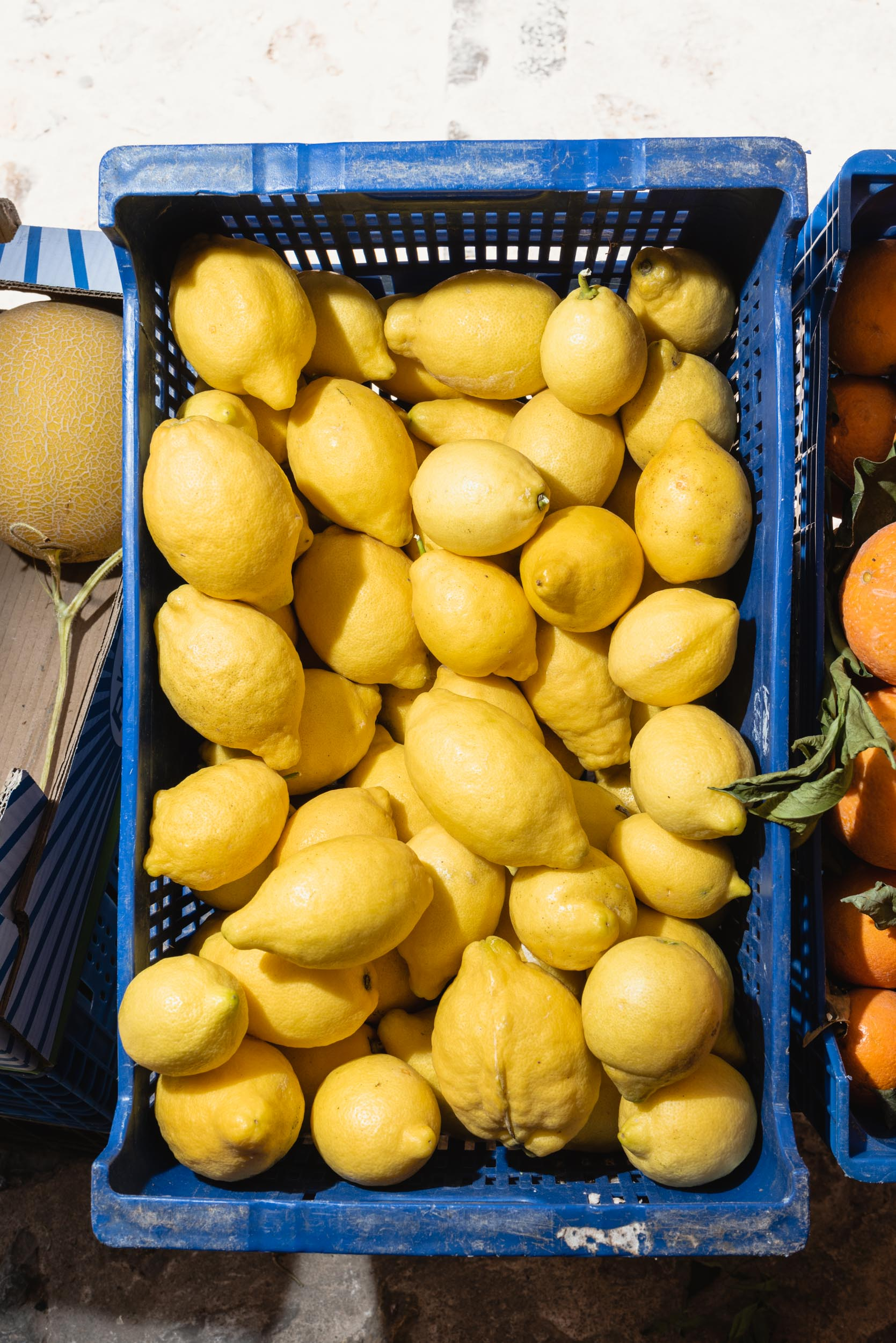 Yellow lemons for sale in blue bin