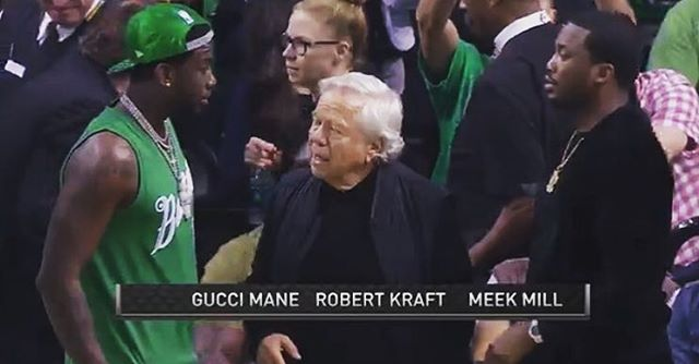 Name a better trio you'd like to see take down a #shotstick ...I'll wait. #freemeekmill #bobkraft #guccigang
