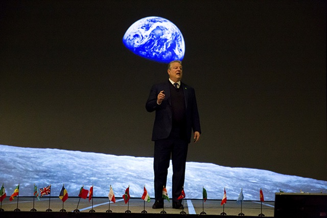 FOUNDER AL GORE SPEAKING AT THE CLIMATE REALITY PROJECT CONFERENCE.