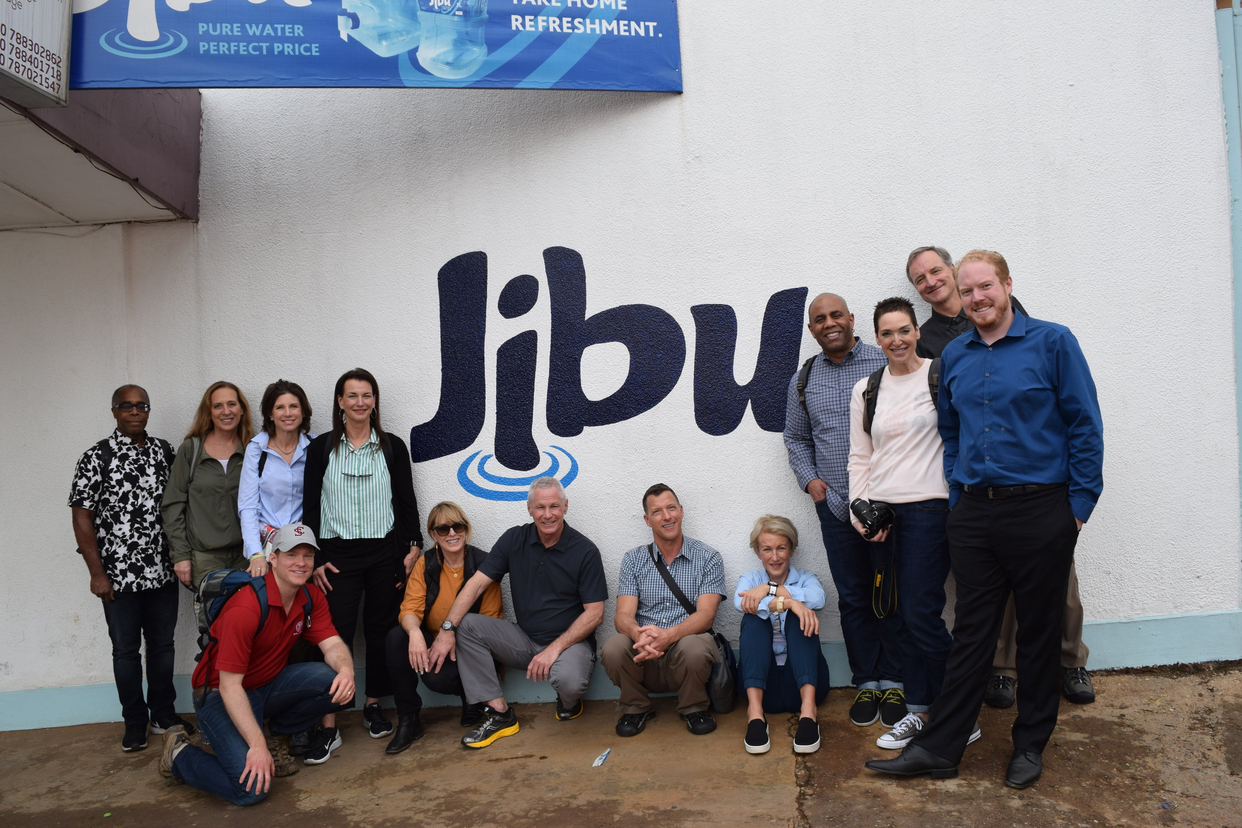 Miller Center executive immersion trip participants at Jibu's headquarters in Kigali with Rwanda country manager Nathan Dowling.