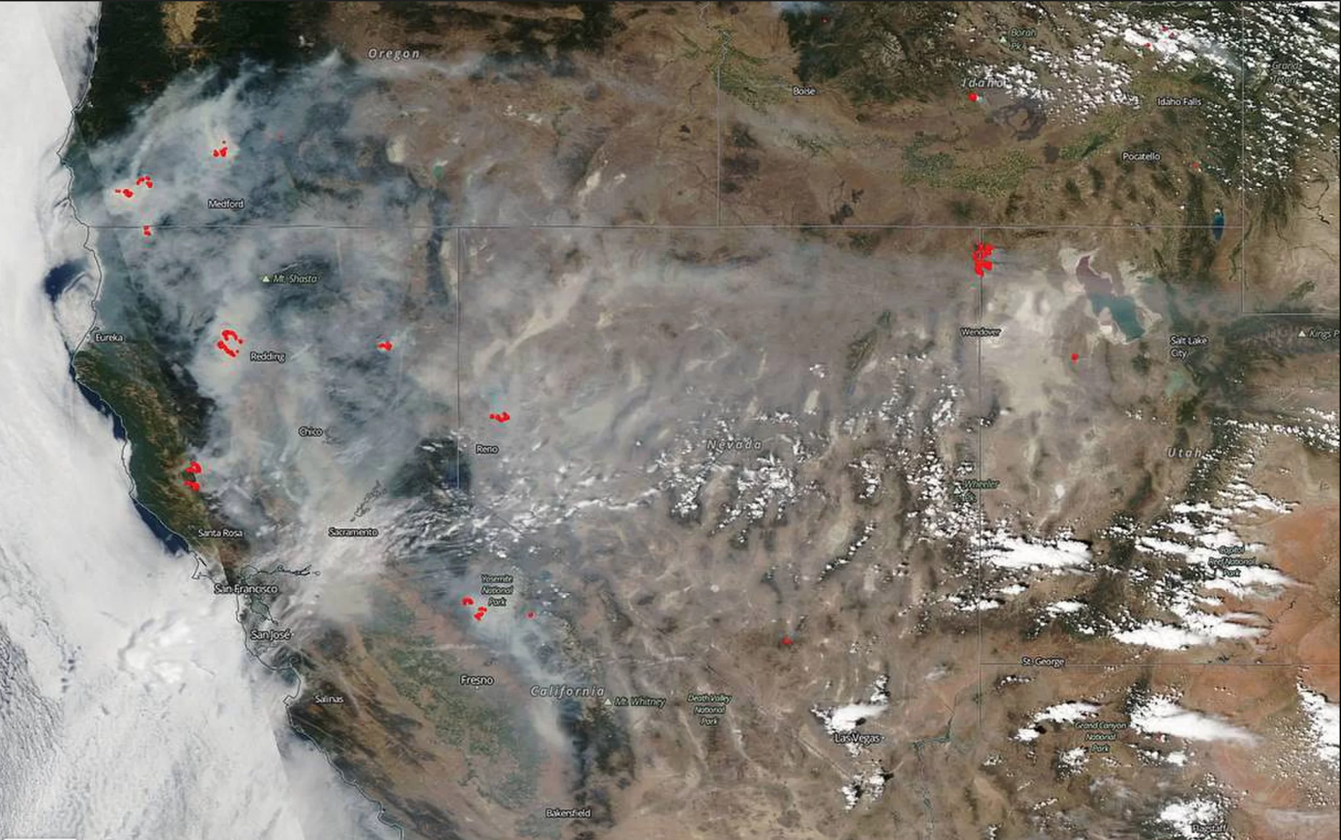 Wildfire smoke blankets California Credit: NASA/Goddard Space Flight Center Earth Science Data and Information System (ESDIS) project