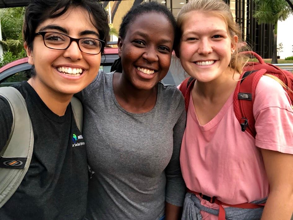 Our incredible Rwandan translator, Agnes, sending us off at the airport.