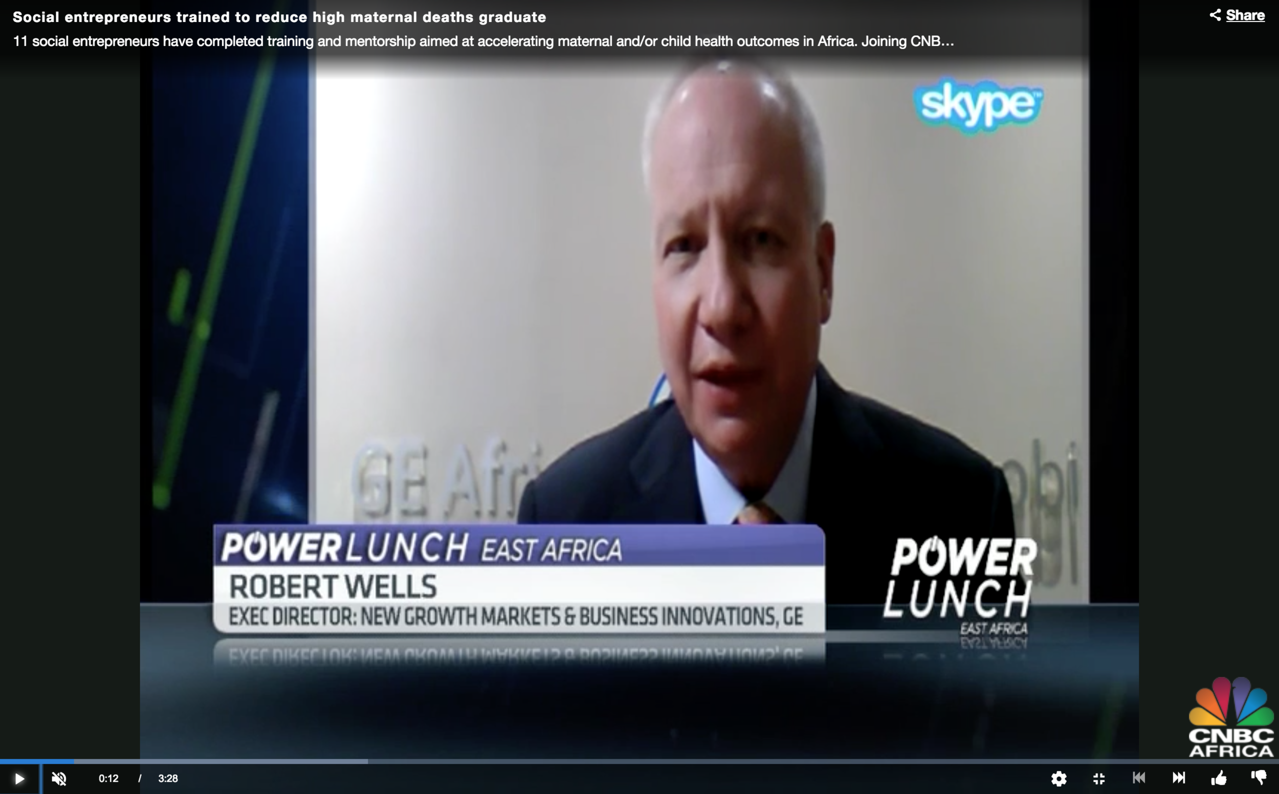 Robert Wells, Executive Director, New Growth Markets and Business Innovations at GE featured on CNBC Africa.