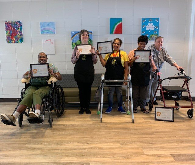 Our 2nd Hi-Hope Cooking Course graduates! (From L to R: Kimberly M., Deborah J., Patsy R., Betty P., Sue C.)