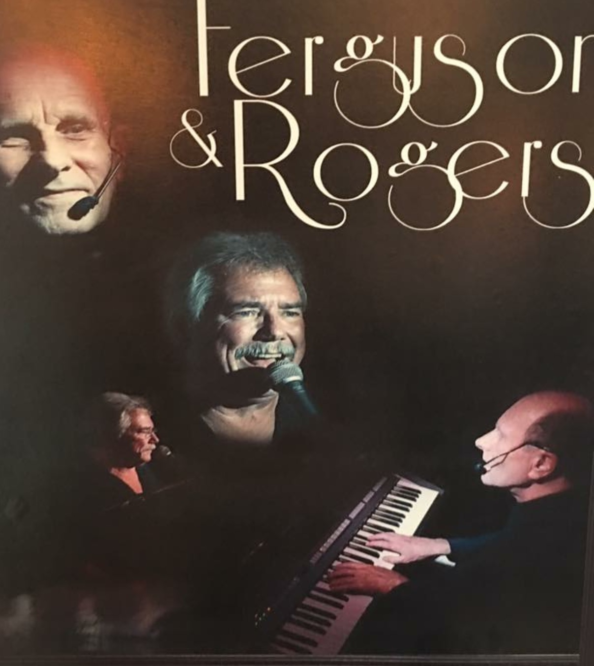 Ferguson & Rogers Advertisement. Collage of them playing keyboard and singing.