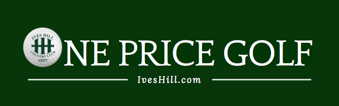 One Price Golf - IvesHill.com and golf ball with Ives Hill Logo on it.