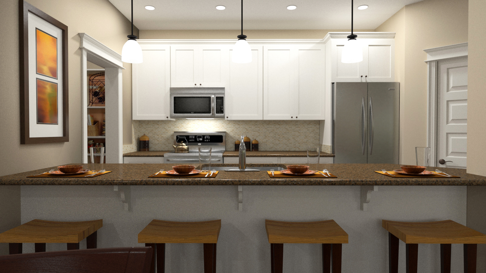 The client's blueprint was converted to a digital model. 3d appliances, COUNTERS, and cabinets were installed PER CLIENT'S SPECIFICATIONS. renderings were POSTED ON MLS AND REAL ESTATE WEBSITES to pre-sell condo units long before the construction was completed.