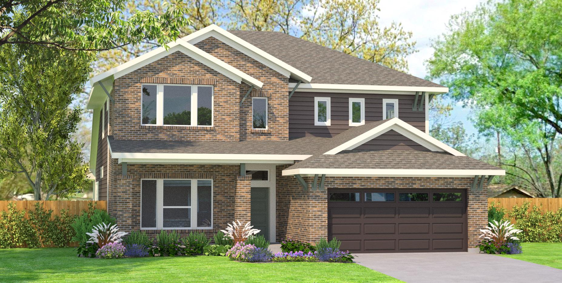 3D Exterior Home Rendering - Brick