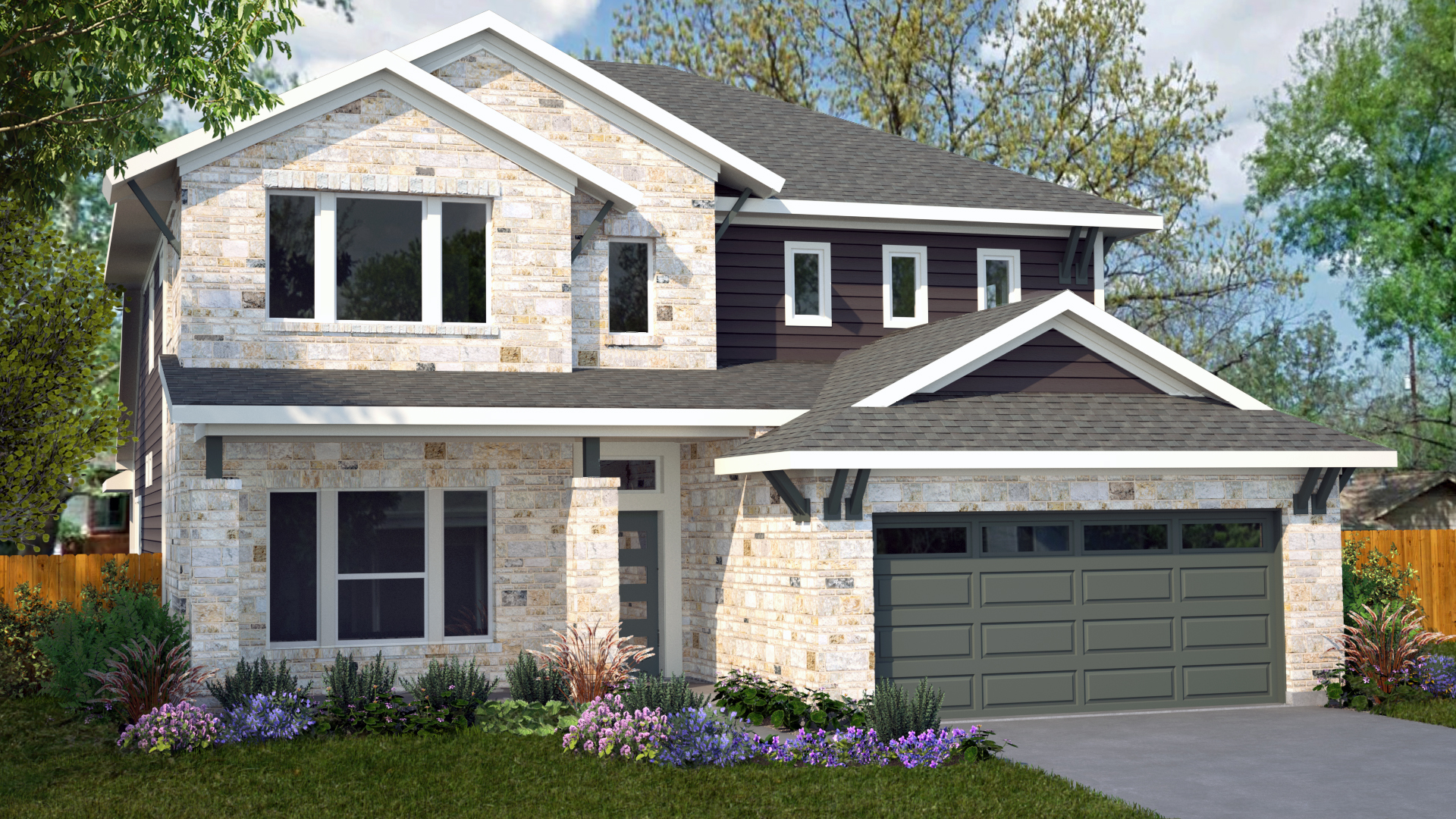 3D Exterior Home Rendering - Stone