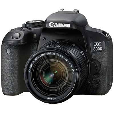 Canon EOS 800D + 18-55mm IS - £699 - Megapixels: 24.2Frames per second: 6ISO min-max: 100-25600Display Screen size (inches): 3Viewfinder: Optical, ElectronicShutter speed fast: 1/4000 secShutter speed slow: 30 secSize: 131 x 99.9 x 76.2 mmWeight (g): 532