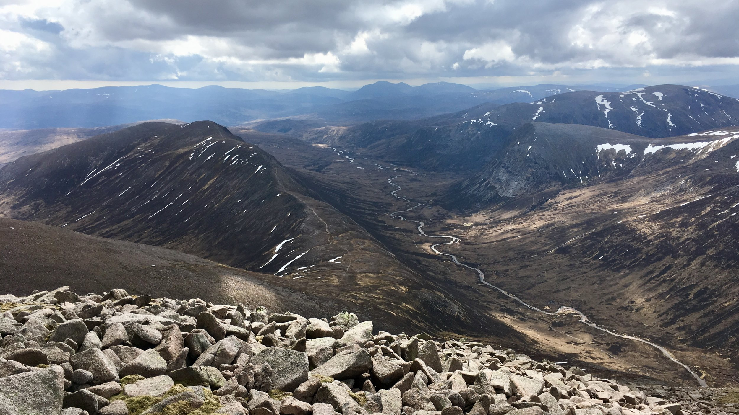 Views from Ben Macdui down in the Lairig Ghru