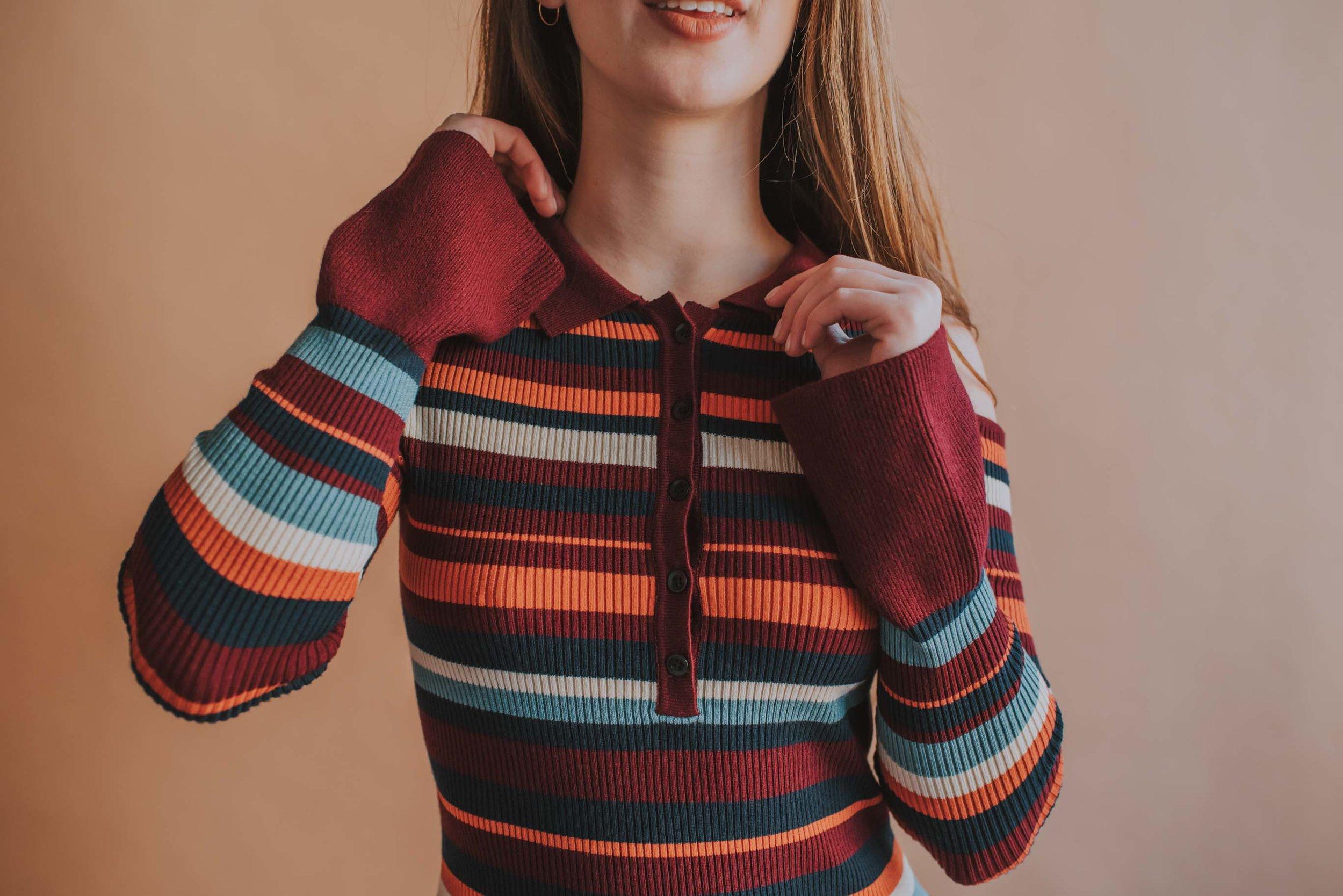 Phoebe Jane Striped Shirt, Bell Sleeves