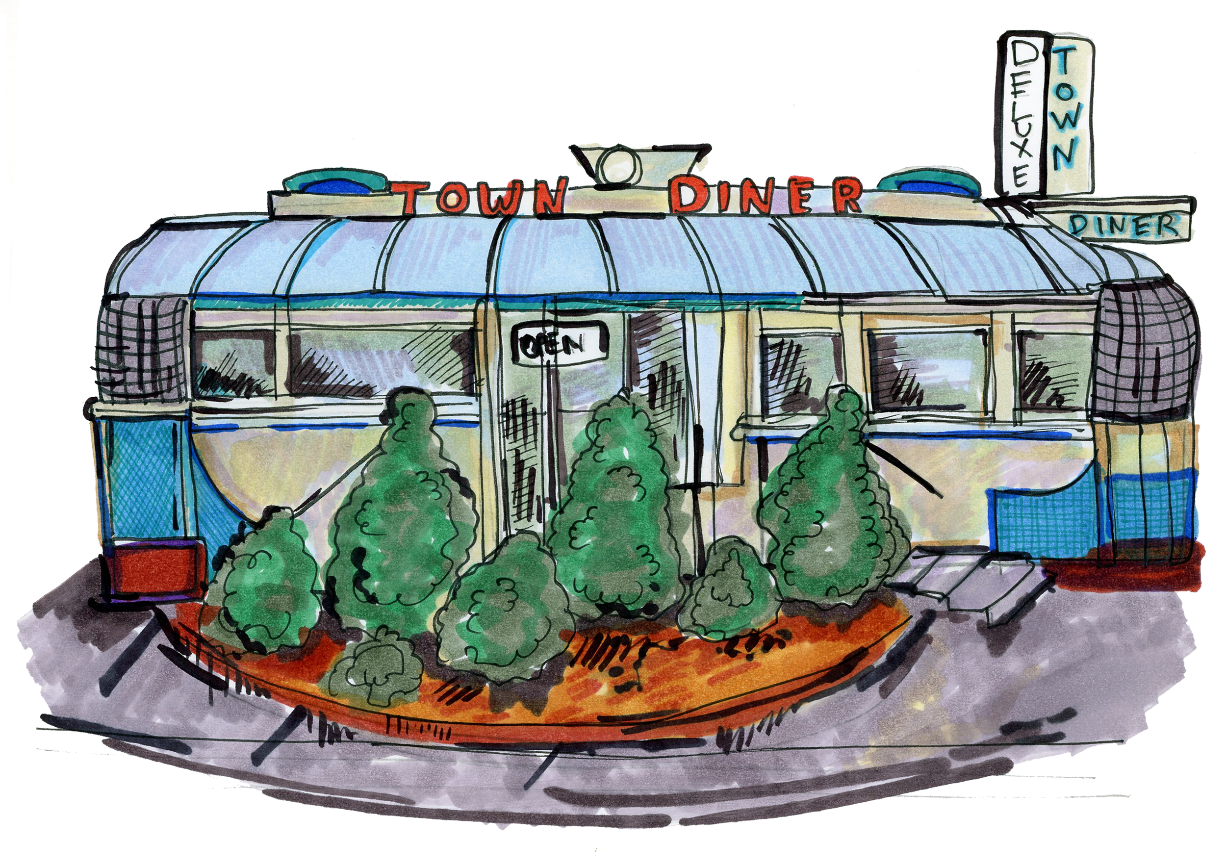 Diner illustration by  Lindsey Frances