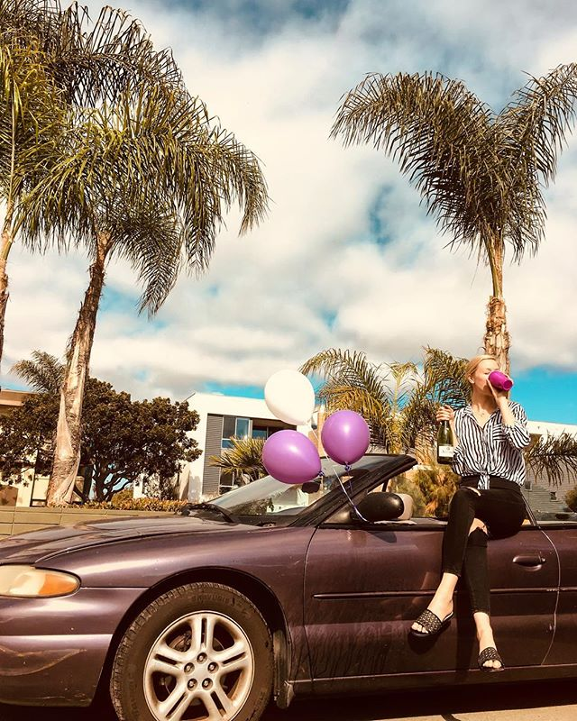 Best $500 I've ever spent. 1996 purple Chrysler Sebring so I can spend the summer (and probably not much longer than that) driving up the Cali coast with the wind in my hair 💁🏼‍♀️
