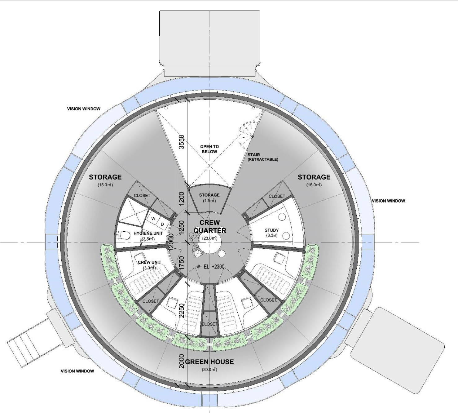 Second floor plan and program areas