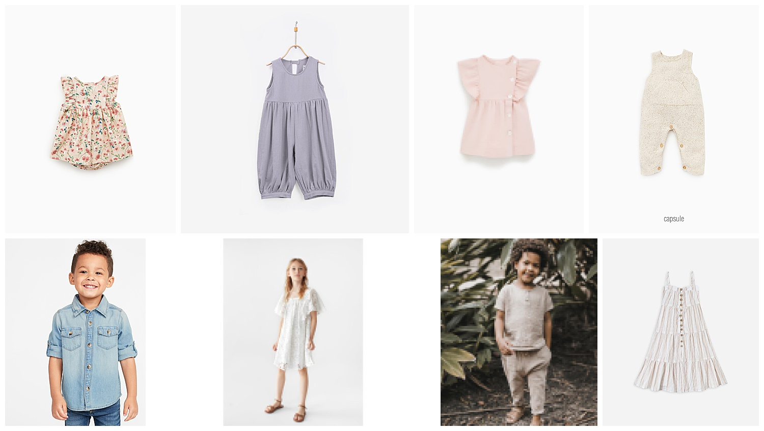 Beginning from top left: (1)  Floral Dress  (2)  Jola Overall  (3)  Ruffled Dress  (4)  Rustic Jumpsuit with Pocket  (5)  Roll-Sleeve Denim Shirt  (6)  Lace Dress  (7)  Woven Henley Tee & Hawthorne Trouser  (8)  Tiered Maxi Dress