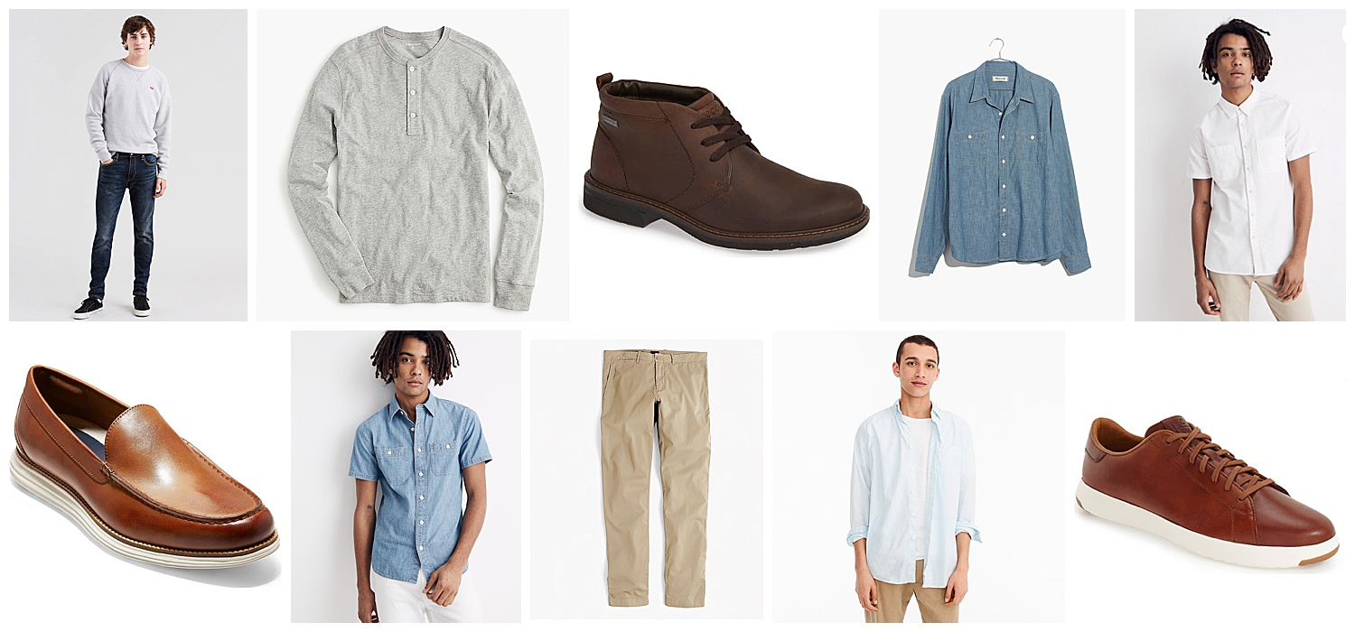 "Beginning from top left: (1)  512™ Slim Taper Fit Stretch Jeans  (2)  Garment-dyed Slub Cotton Henley  (3)  ECCO Turn Gore-Tex Waterproof Chukka Boot  (4)  Madewell Chambray Button-Down Shirt  (5)  Short-Sleeve Button-Down Workshirt  (6)  Cole Haan Original Grand Loafer  (7)  Chambray Short-Sleeve Button-Down Shirt  (8)  484 Slim-fit lightweight garment-dyed stretch chino  (9)  Stretch Shirt in Garment-dyed Solid Poplin  (10)  Sperry ""Gold Cup - Authentic Original"" Boat Shoe"