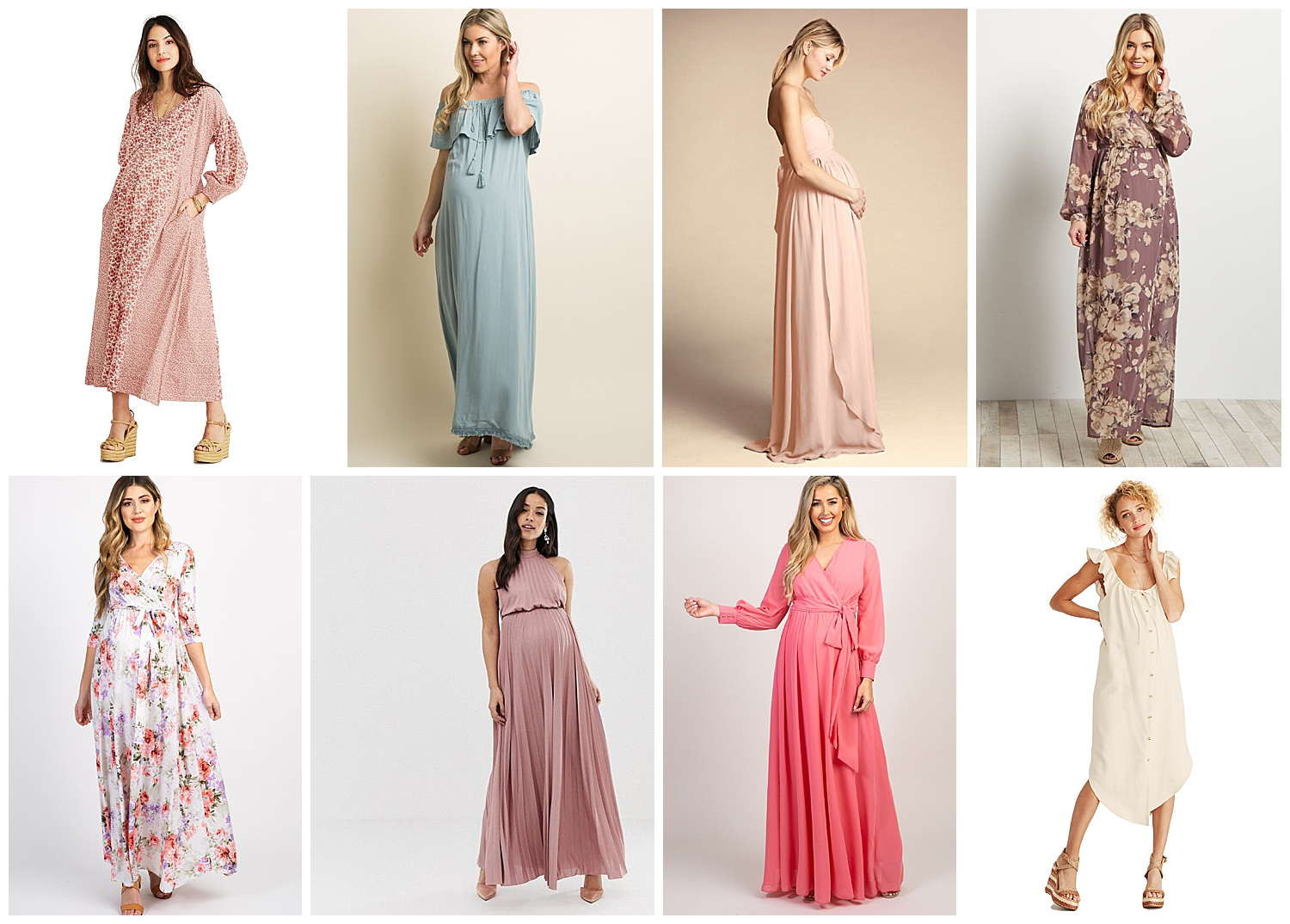 Beginning from top left: (1)  The Gemma Dress  (2)  Trim Tassel Off Shoulder Maternity Maxi  (3)  Jenny Yoo Cerise Dress  (4)  Lavender Floral Chiffon Wrap Maternity Maxi  (5)  Floral Maternity Wrap Maxi  (6)  ASOS Design Maternity High Neck Pleated Maxi  (7)  Coral Chiffon Long Sleeve Pleated Maternity Maxi  (8)  The Jenna Dress