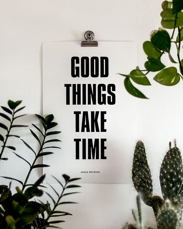 """Limited edition letterpress posters available to purchase on our website! (link in bio) ... During my first design job, I hung up a note on the wall that said """"Good Things Take Time"""" to remind me to trust the process and have patience in all things. I've held on to that little piece of paper and put it up in every office I've had since. It's become a phrase that not only helps me in my works process, but in all areas of life.  Now we've created a poster to spread the message. We hope you put it on display in your office or home and embrace the slow in steady."""
