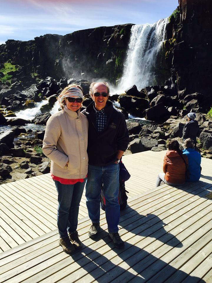 Polly and Tom inside the mid-Atlantic rift in Iceland's Þingvellir National Park