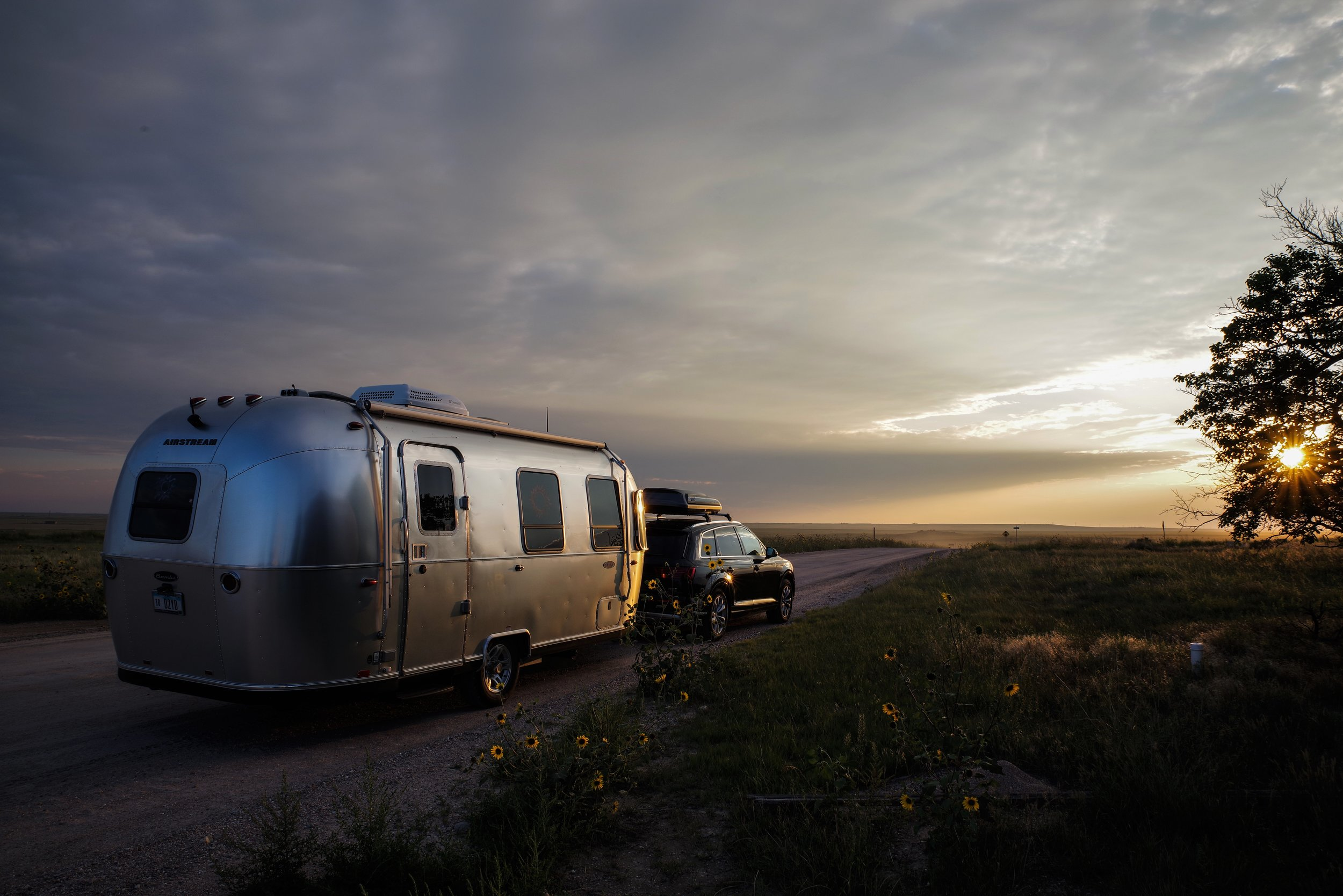 Audi and Airstream in the ghost town of Keota, Colorado