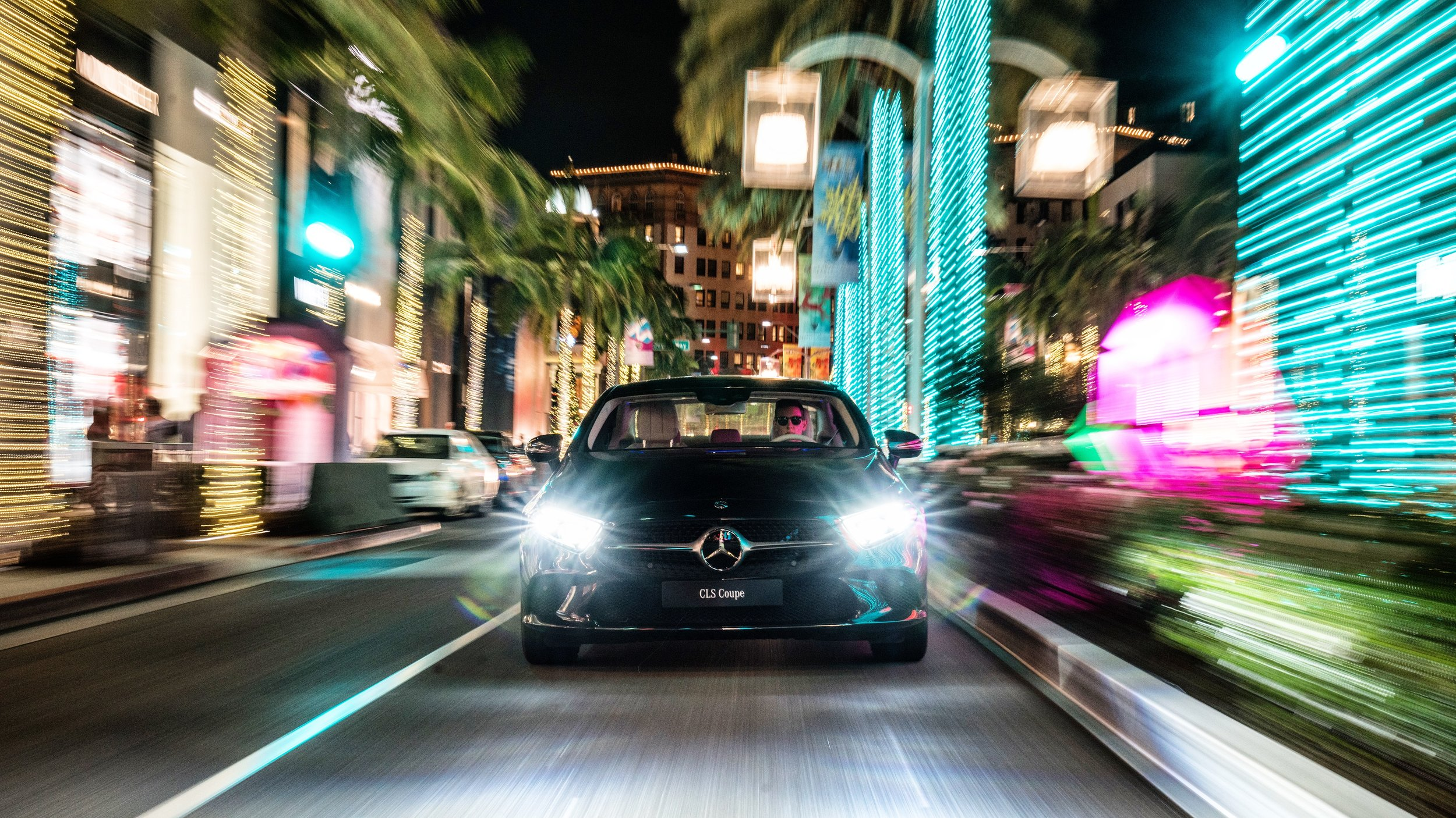 Mercedes CLS under the Christmas lights in Beverly Hills