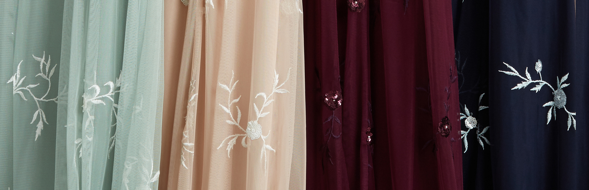 Available in all bodices paired with the Georgette Skirt Silhouette in Green with Ivory, Champagne with Ivory, Burgundy with Purple or Navy with Silver and Ice Blue embroidery.