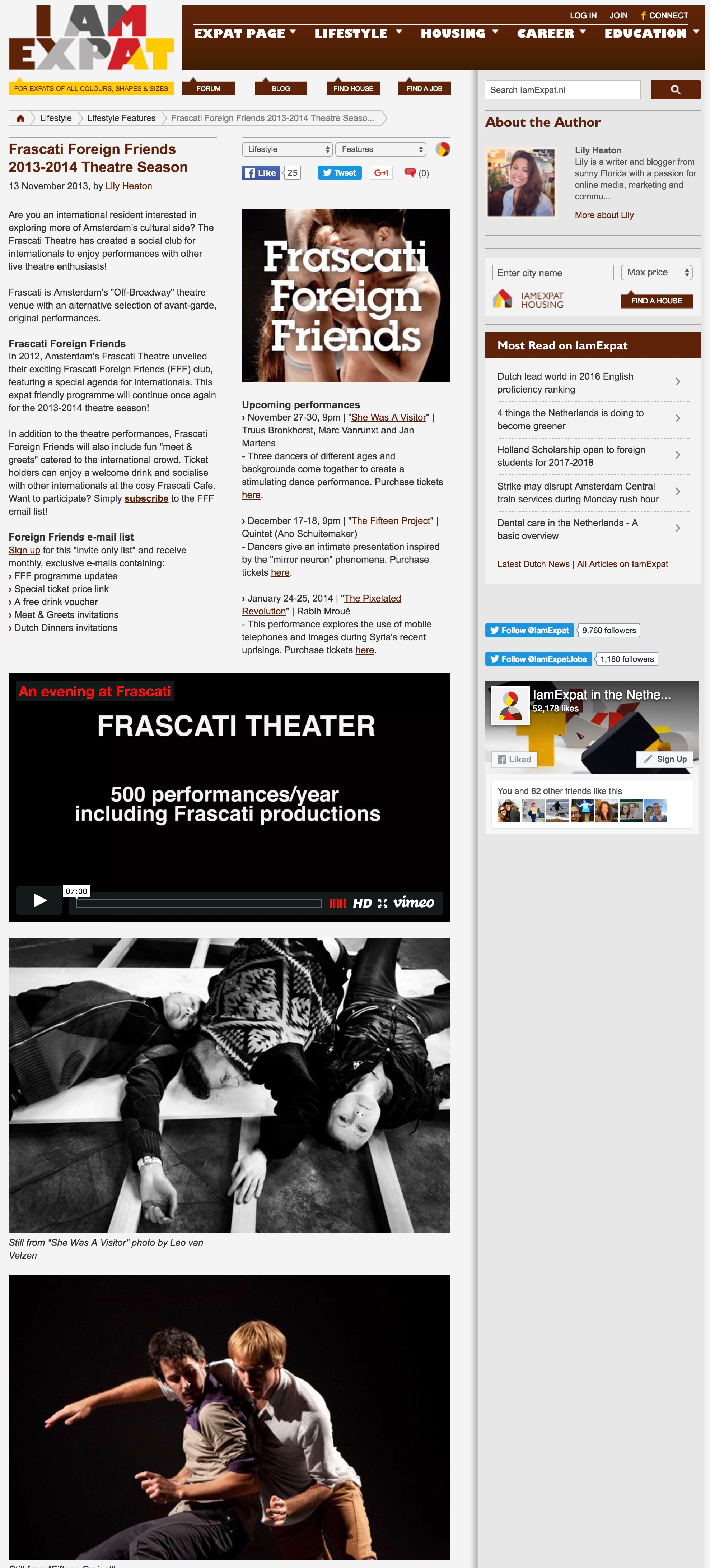 Frascati Foreign Friends 2013-2014 Theatre Season