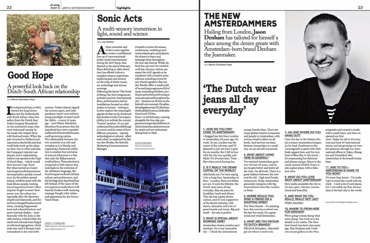 Writing | A-mag – Amsterdam Magazine: Vol 5, No. 1 January/February 2017 Arts & Entertainment Featurette | Page 22