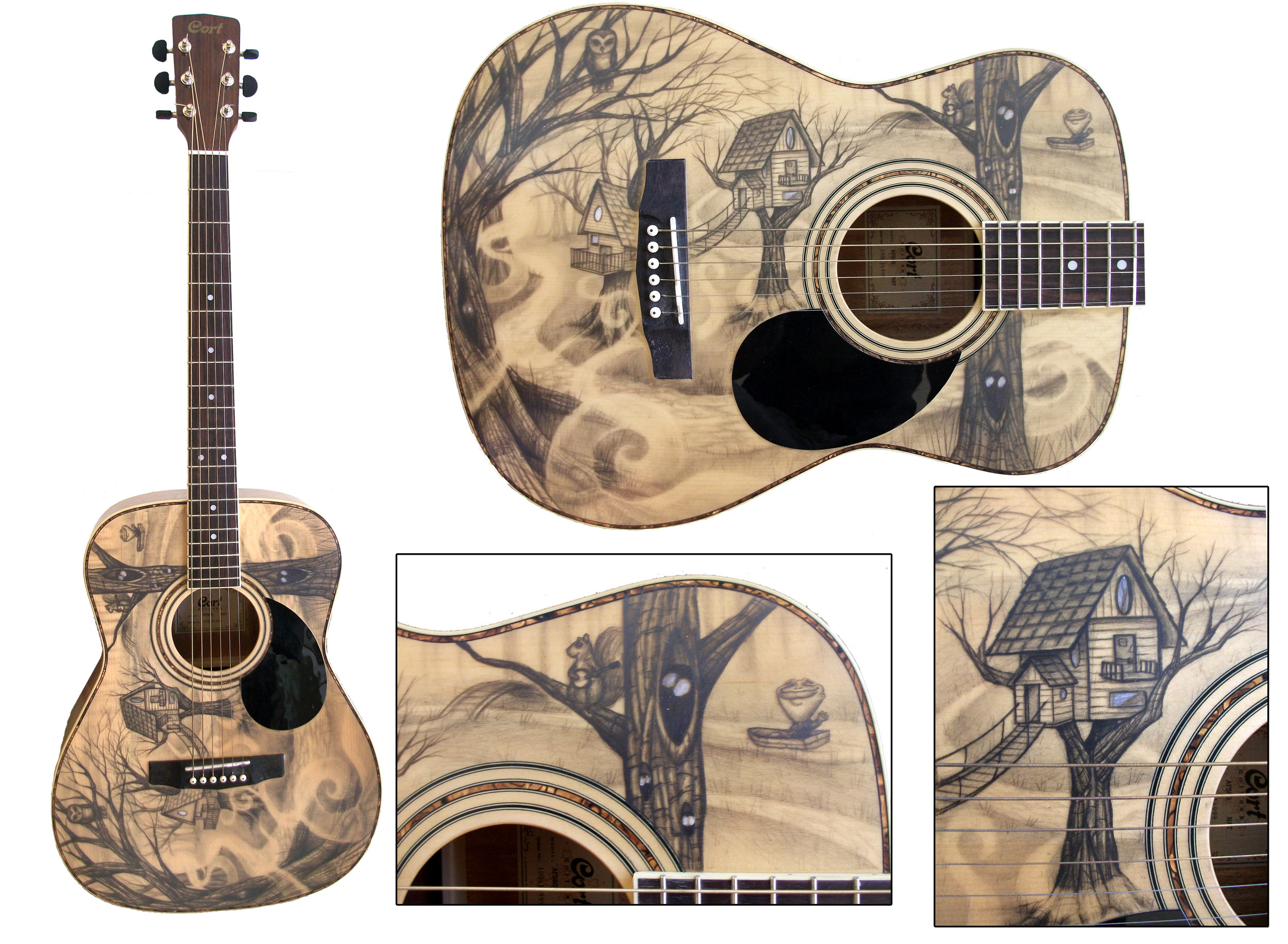 graphite and charcoal on guitar  Done for Nomad Music Experience