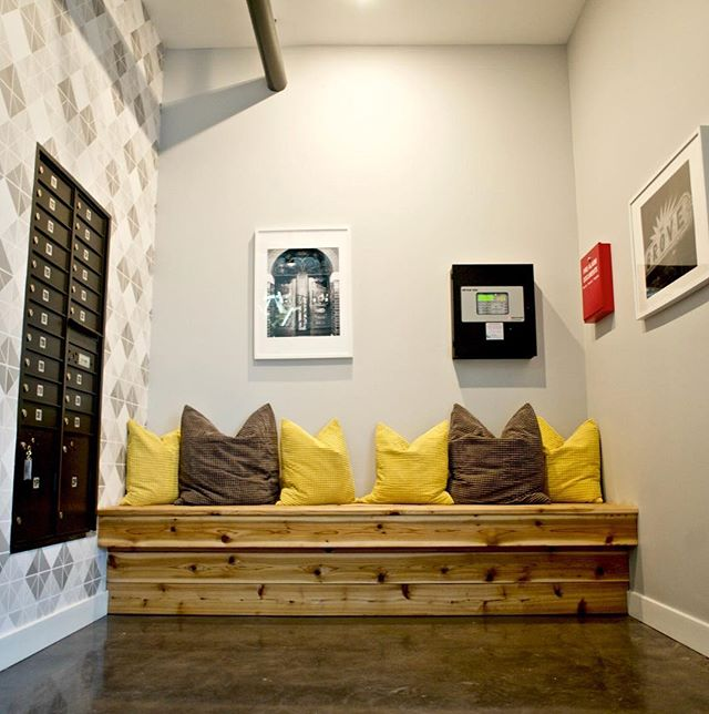Welcome home! Check your mailbox, chat with neighbors or just sit for a spell in our charming lobby! . . . #welcomehome #gather #thegrove #loftlife #urbanliving #city #citymouse #urban #modern #welcoming #contemporary #new #contemporary #stl #stlouis