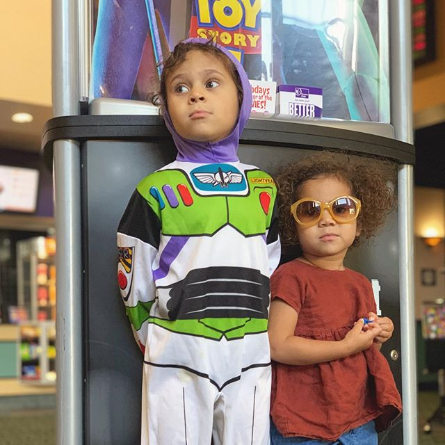 Yesterday, I finally took my little ones to Toy Story 4—and yes, we are that random family that loves any reason to dress up in #costume (imagination encouraged always). So my son couldn't help himself but to dress up like #buzzlightyear for this adventure. And #toystory4 was amazing!!! I've been a huge Pixar fan from day one, and with this particular franchise they continue to out do themselves—which the bar raises higher each time. The animation was just stellar. The story line was suburb. So much detail—visibly and viscerally. It was enjoyable for all ages and inspiring as ever—for parents and children alike. I can hardly wait to own this one and watch it at home again and again—like the others. We laughed. We cried. We were even terrified a few times 😂😂😂. We felt all the feels on this one. What a movie. What a message of identity, self worth, love, sacrifice, courage, perseverance, putting yourself aside to serve others and the over all idea of the 'lost' in life becoming 'found.' This was in my opinion, the deepest and most profound #toystory to date. Thank you #disney and #pixar for this incredible work of art—bravo!! #toinfinityandbeyond #imnotcryingyourecrying #wherearethetissues