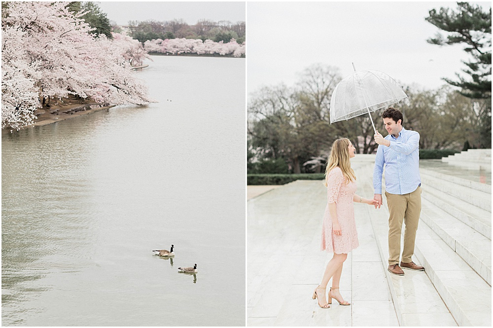 Walking up the steps at the Jefferson Memorial for this rainy DC Cherry Blossom Engagement