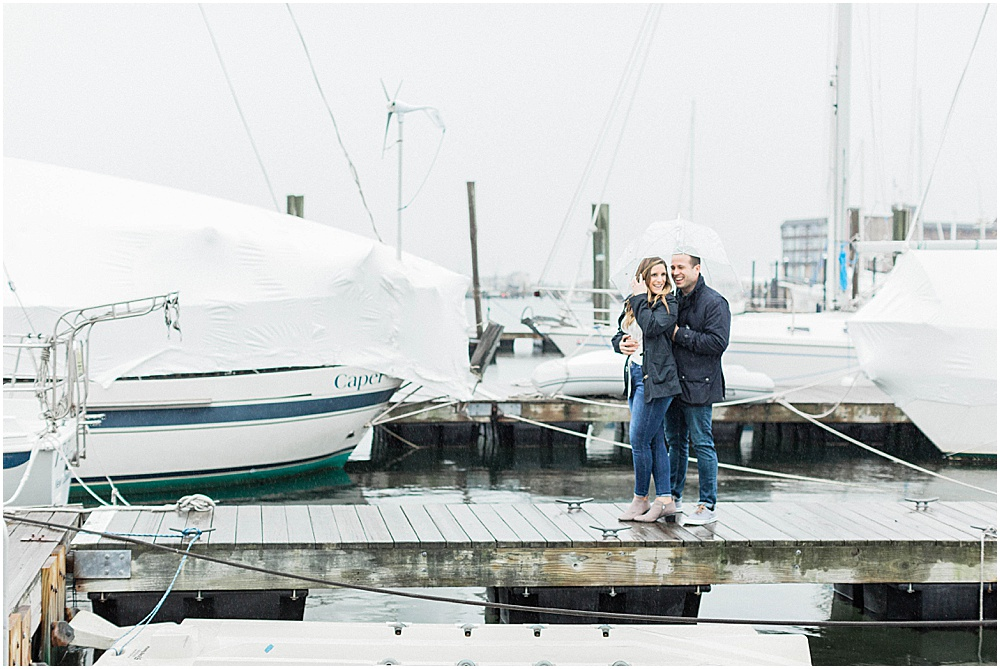 Fun Under the Umbrella during their Rainy Newport Engagement Session | Meredith Jane Photography