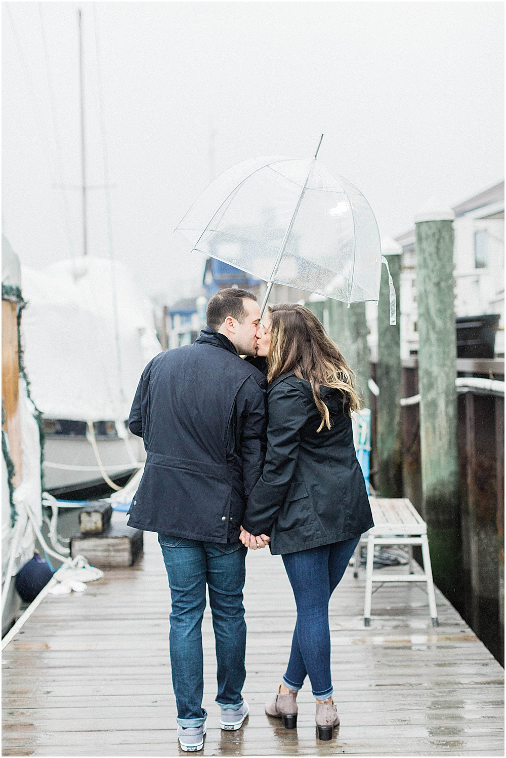 Lean in for a Rainy Kiss During Your Newport Engagement Session