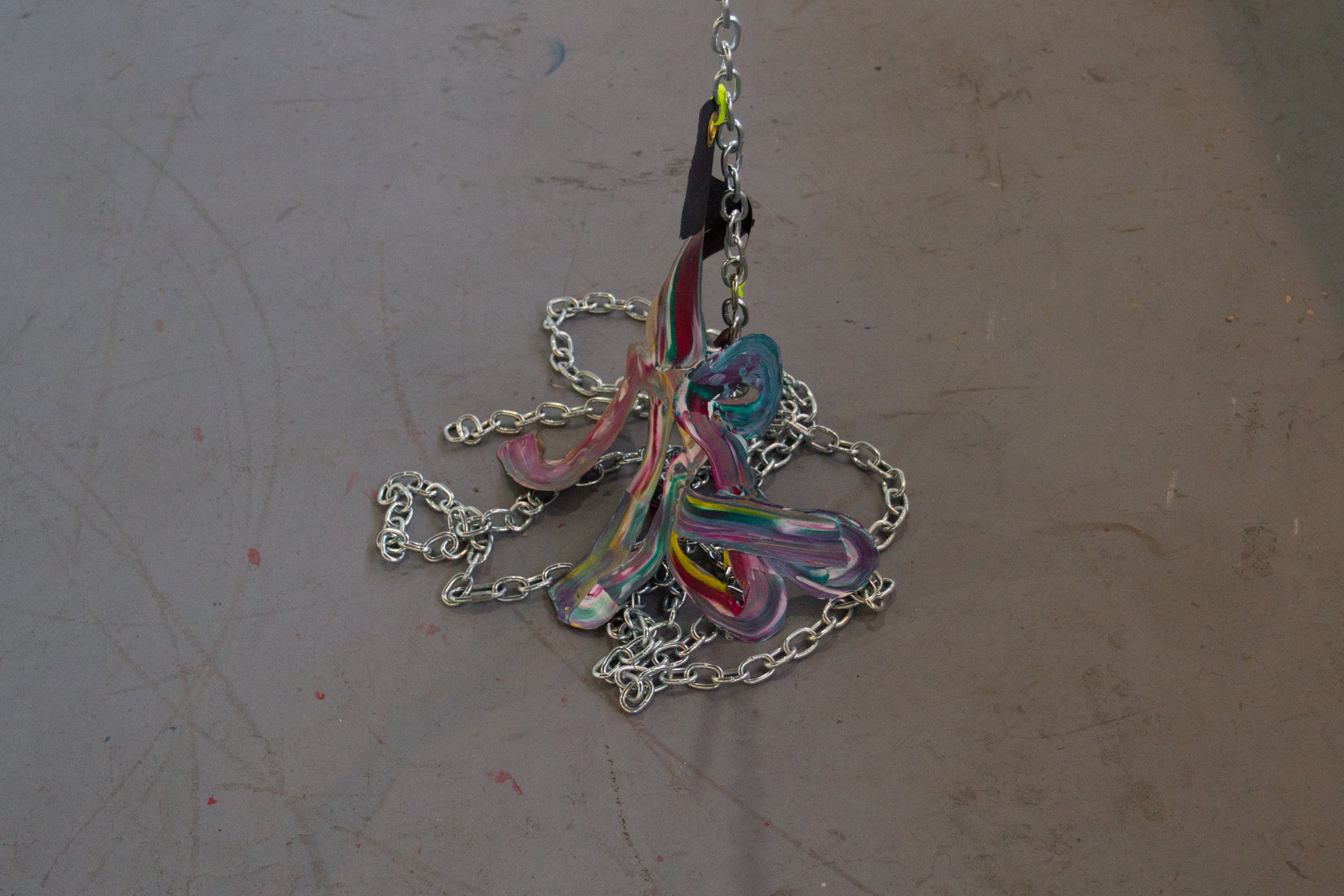 PaintingHung  acrylic on cut canvas, zip-ties, & chain  dimensions variable   2016