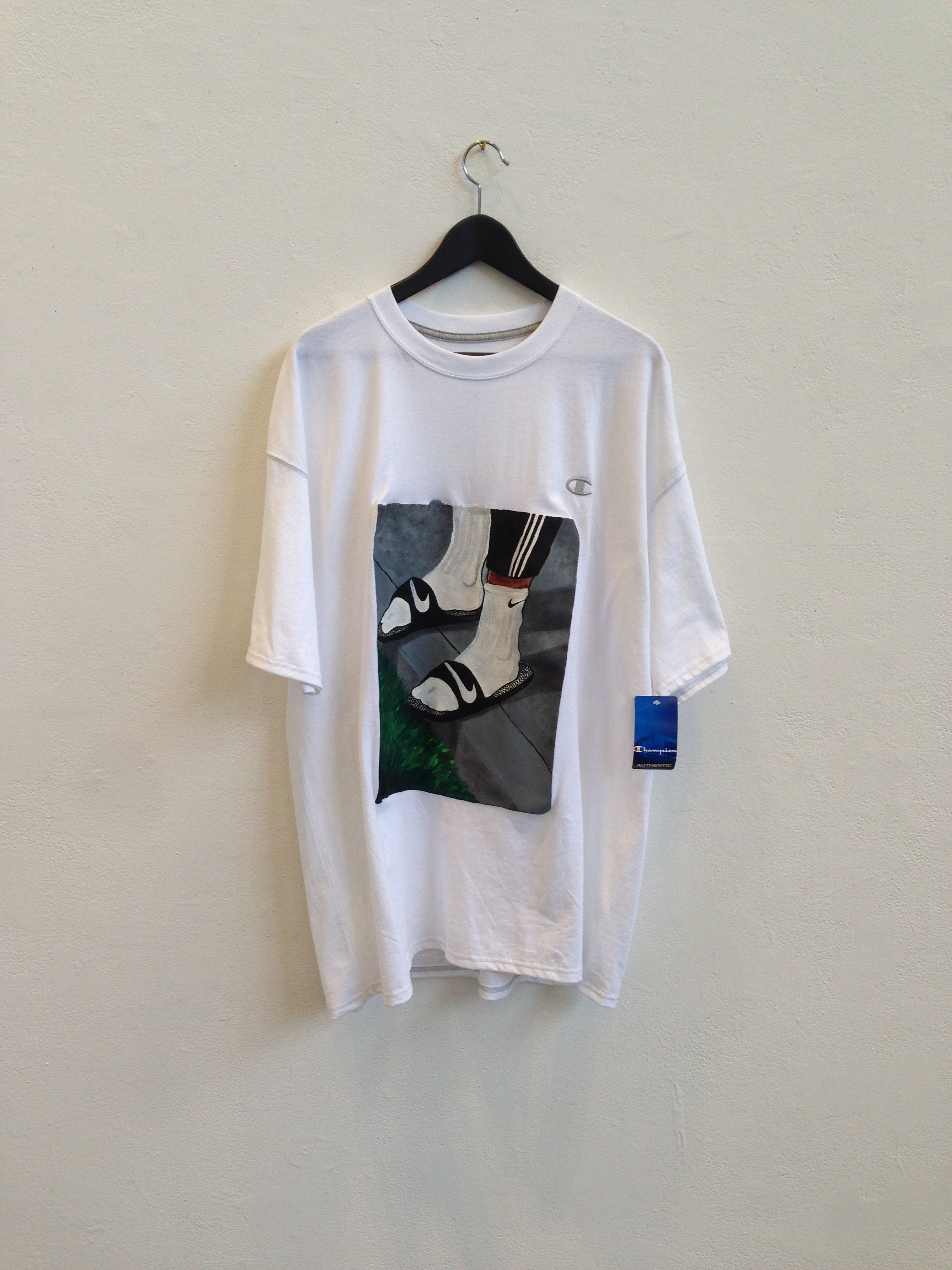 The Precipice T   acrylic on Champion t-shirt  size XL  2014