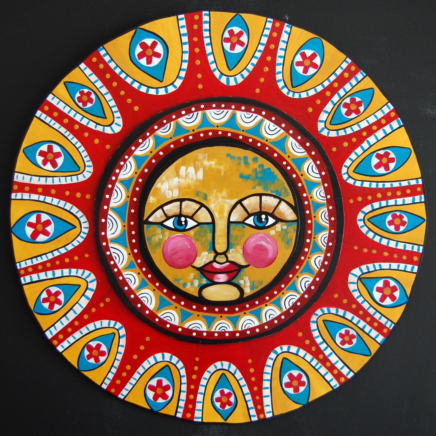 """El Sol"" Acrylic on Wood Approx. 2' wide // SOLD"